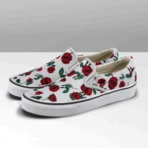 Vans Womens Classic Slip-On - (Red Roses) True White ― Canada's Online Skate Shop