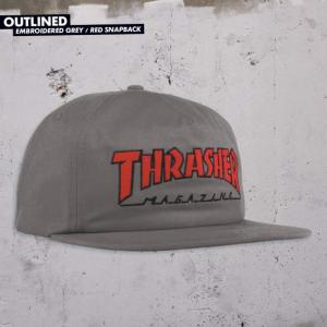 Thrasher Outlined Embroidered Snapback - Grey / Red ― Canada's Online Skate Shop
