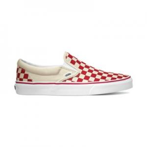 Vans Classic Slip-On - (Primary Check) Racing Red / White ― Canada's Online Skate Shop