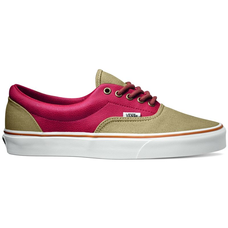 55145cbe5d Vans Era - (Leather Quarter) Khaki   Red ― Canada s Online Skate Shop